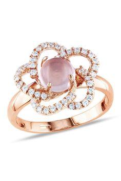 2 Ct Rose Quartz & Cubic Zirconia Ring In Silver