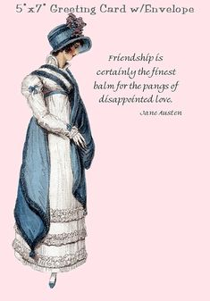 "5""x7"" Greeting Card with White #Envelope included (Blank Inside); all packaged in a clear cello envelope for protection.  Jane Austen Quote, Friendship Is Certainly The Fine... #quotes #hat #pink #funny #blue"