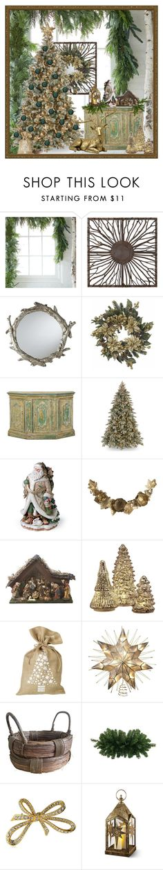 """""""Teal and Gold Christmas"""" by mollygrant ❤ liked on Polyvore featuring interior, interiors, interior design, home, home decor, interior decorating, Barclay Butera, Nearly Natural, CO and Fitz & Floyd"""