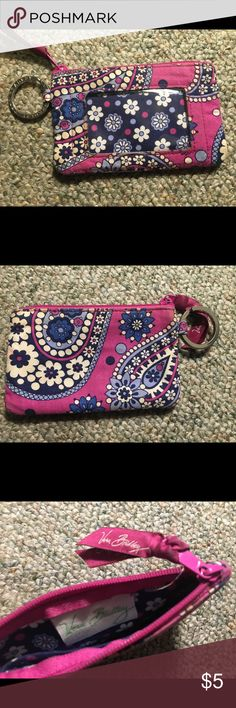 Pink and purple paisley Vera Bradley wallet A cute and simple pink and purple Vera Bradley paisley wallet, perfect coin wallet, can hold plenty of cards and loose change. It is well loved but perfect for a new home ! Vera Bradley Bags Wallets