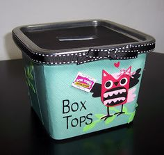 Lots of local schools collect box tops to redeem for supplies. Create Recycled Box Tops Containers and have your members collect them and donate them to a local school at the end of the semester. (Make sure you find out which schools need them first! Owl Theme Classroom, Classroom Design, Classroom Themes, Future Classroom, Classroom Teacher, Classroom Helpers, Classroom Behavior, Preschool Classroom, Box Tops