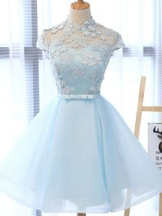 Chic party gowns, Light Sky Blue Homecoming Dress, Tulle formal gowns, High Neck Homecoming Gowns,Cap Sleeves Party Dress from Beauty Angel Blue Homecoming Dresses, Cute Prom Dresses, Elegant Dresses, Pretty Dresses, Sexy Dresses, Dance Dresses, Beautiful Dresses, Fashion Dresses, Formal Dresses