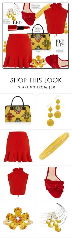 """The Color For Now: Red Lips"" by helenaymangual ❤ liked on Polyvore featuring Marian Paquette, Kenneth Jay Lane, SemSem, Alexandre Birman, David Tutera, Kokkino, Giorgio Armani and stylingwithredandyellow"