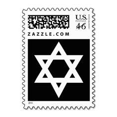 Black and White Star of David Postage Stamp