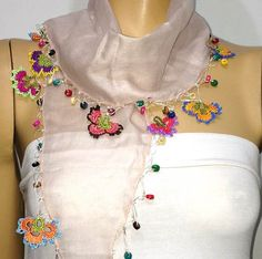 icu ~ Yeşim panosundaki Pin ~ NUDE Pink cotton scarf with handmade multi color oya flowers - Powder pink Scarf Crochet Shawl, Hand Crochet, Crochet Edging Patterns, Cutwork Embroidery, Pink Scarves, Embroidered Clothes, Cotton Scarf, Powder Pink, Trending Outfits