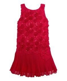 This Red Rosette Drop-Waist Dress - Girls by American Princess is perfect! #zulilyfinds