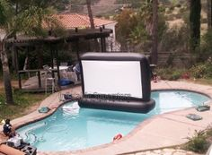 "Amazon.com: 110"" Superior Screen Swimming Pool Backyard Movie Screen: Toys & Games"