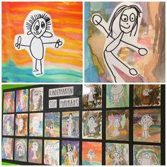 Kindergarten Self Portraits Drawing Painting Art Lesson Plan KinderArt – Art Kindergarten Self Portraits, Kindergarten Drawing, Kindergarten Art Lessons, Art Projects For Kindergarteners, September Art, Self Portrait Drawing, Portrait Watercolour, Self Portrait Kids, Elementary Art
