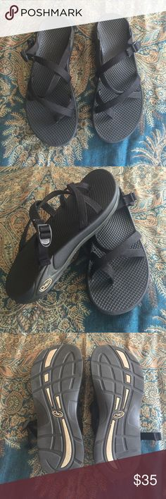 Women's Chacos Women's Zong Ecotread Chacos, solid black without a heel strap. Only worn a couple of times! Great condition. Chacos Shoes Sandals