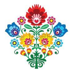 Broderie populaire avec des fleurs - mod�le traditionnel polonais photo