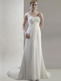 Empire Straps Chiffon Chapel Train White Appliques Wedding Dress at Millybridal.com
