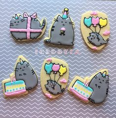 Pusheen The Cat Sugar Cookies  perfect for birthdays and