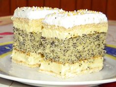Francia mákos krémes Hungarian Recipes, Polish Recipes, Something Sweet, Sweet And Salty, Let Them Eat Cake, Cookie Recipes, Cupcake Cakes, Sweet Tooth, Bakery