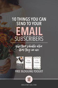 10 things to send your email subscribers. So, you have an email list, now what? What the heck do you send to them? It can be scary. I mean, who wants anyone to unsubscribe? Truth of the matter is, it's no biggy! If you are sending valuable information that your subscribers can use, then you'll keep ONLY the good subscribers! I put together a list of 10 things that you can send to your email subscribers. I have a video, and I am giving you a FREE blog toolkit, too…