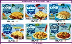 Asda good & counted ready meals slimming world ready meals, asda slimming world, slimming Slimming World Ready Meals, Asda Slimming World, Slimming World Syns List, Slimming World Syn Values, Slimming World Recipes, Low Carb Recipes, Diet Recipes, Cooking Recipes, Healthy Recipes