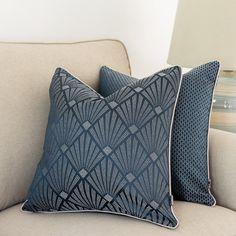 Art-deco cushion cover, Navy blue pillowcase, Square cushion, 45x45cm, Piped cushion cover, Geometric pattern, Decorative cover pillows Navy Blue Cushions, Boho Cushions, Purple Pillows, Orange Pillows, Decorative Cushions, Decorative Pillow Covers, Pipe Decor, Shiny Fabric, Art Deco Pattern