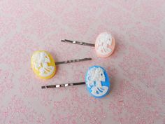 3 Piece Lolita Cameo Skeleton Bobby Pin Set Pastel by AbbiesAnchor, $5.95