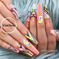 Beautiful Tribal Nail Art To Inspire Your Wild Spirit ❤️ Coffin acrylic nails are very trendy despite their name. No matter if yo Cute Acrylic Nails, Acrylic Nail Designs, Cute Nails, Pretty Nails, Nail Art Designs, Tribal Nail Designs, Sexy Nails, Classy Nails, Stylish Nails