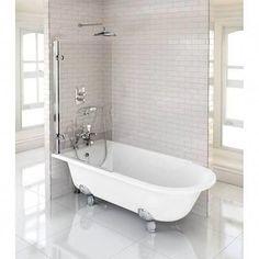 Burlington Hampton Showering Bath with Legs - Left Hand Option at Victorian Plumbing UK Marble Bathtub, Bathtub Shower, Clawfoot Bathtub, Simple Bathroom, Bathroom Ideas, Bath Ideas, Bath Screens, Adjustable Legs, Bathroom Interior Design