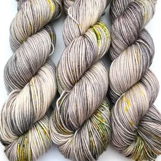 "Hand Dyed Yarn ""Lichen Me on Mossbook"" Grey Tan Green Orange Yellow Speckled Bluefaced Leicester DK Weight Superwash Knitting Yarn, Knitting Patterns, Yarn Inspiration, Dk Weight Yarn, Yarn Brands, Yarn Shop, Hand Dyed Yarn, Yarn Colors, Green And Orange"