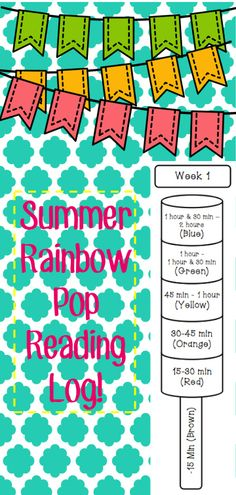 Students track the time and number of books they read over the summer by coloring in a rainbow popsicle!