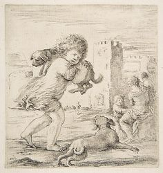 Stefano della Bella  (Italian,1610–1664) | Child Carrying a Puppy on his Shoulder | ca. 1662 | The Metropolitan Museum of Art, New York | The Elisha Whittelsey Collection, The Elisha Whittelsey Fund, 1967 | 67.553.10 #dogs Vintage Wall Art, Vintage Walls, Canvas Prints, Art Prints, Historical Maps, Antique Prints, Heritage Image, Art Reproductions, Gifts In A Mug