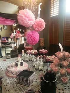 Table Setting Pink Black N White Damask Baby Shower
