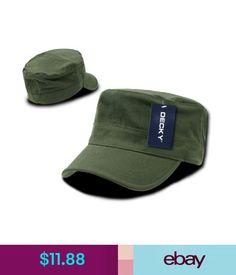 6dda877dbc6  11.88 - Olive Green Military Cadet Flat Top Flex Cap Caps Hat Hats One  Size Fits