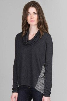 Lilla P Sweater/Woven Long Sleeve Cowl Neck | Our cotton blend sweaters are combined with printed poly crepe for one of a kind pieces. The graphit | Primary View | Tangerine Boutique