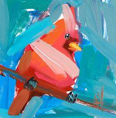 Cardinal no. 156 original bird oil painting by by prattcreekart