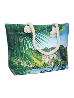 Beach Tote Bags, Purses And Bags, Tropical, Closure, Zip, Canvas, Shoulder, Ebay, Tela