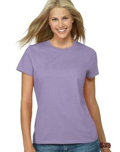 Hanes Silver Ladies' Classic Fit Ringspun Cotton Jersey Tee