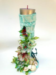 #52craftyprojects 34/52 - Re-purposed a boring vase to an enchanting candle holder