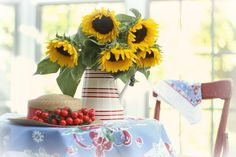 cherries and sunflowers by lucia and mapp, via Flickr