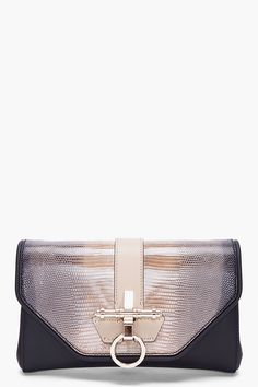 Givenchy Lizard Skin Obsedia Clutch in Brown (taupe) cdca8cec23f65