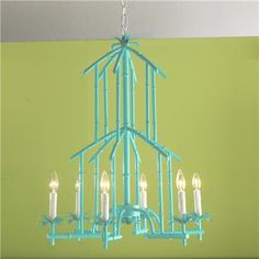 Bamboo Tower 6 Light Chandelier Available in 7 Colors: Turquoise, Coral, Bright… Chandelier Shades, Chandelier Lamp, Lamps, Teal Chandeliers, Bamboo Design, Chinoiserie Chic, Faux Bamboo, Cool Lighting, Lighting Ideas