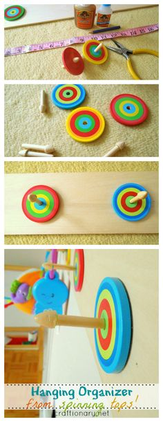 Fun and creative hanging organizer for kids room made with vibrant spinning tops. A super simple project for little ones little things! Easy Projects, Craft Projects, Spinning Top, Hanging Organizer, Diy Organization, Super Simple, Diy And Crafts, Diy Ideas, Kids Room