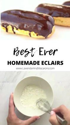 Easy Eclair Recipe, Chocolate Eclair Dessert, Chocolate Eclairs, Best Eclairs Recipe, Eclair Cake Recipes, Fun Baking Recipes, Sweet Recipes, Fun Easy Recipes, Easy Desserts