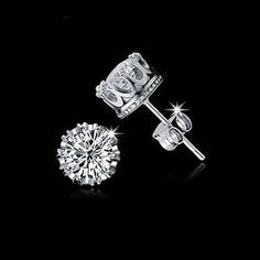 Charm Women Elegant 925 Sterling Silver Rhinestone Crown Ear Stud Earrings. Free shipping and guaranteed authenticity on Charm Women Elegant 925 Sterling Silver Rhinestone Crown Ear Stud Earrings at Tradesy. Tara  Features:  Condition: Brand New  Materia...