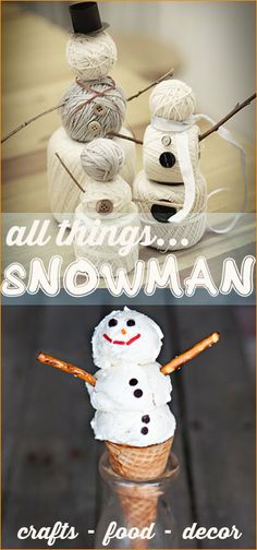 Great for holiday parties, school parties and a FROZEN party. Great ideas to celebrate Olaf or Frosty. Christmas Snowman, Winter Christmas, Christmas Holidays, Christmas Decorations, Christmas Ideas, Crafts For Kids, Diy Crafts, Snowman Crafts, Winter Fun