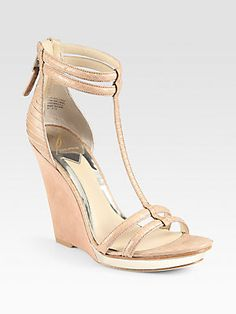 Beautifully done...elegant with clean lines, and a soft palette.  B Brian Atwood Pinkston Snake-Embossed Leather & Suede Wedge Sandals. $495 Sacks 5th