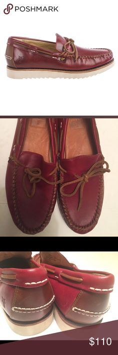 Frye Nathan's Tie boat shoes NEW rich oiled leather upper with stitched moc toes and a stitched leather welt. Raw leather lacing over instep and around collar, leather footbed and Carved zigzag sponge rubber wedge outsole Frye Shoes Boat Shoes