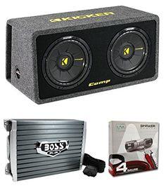 """Kicker 40DCWS122 12"""" 1200W Car Audio Subwoofer Sub Enclosure+Mono Amplifier Amp"""