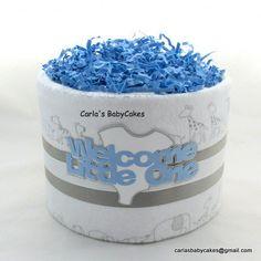 Mini diaper cake | Baby shower decoration | Boy diaper cake | Elephant diaper cake | Baby diaper cake | Baby shower gift | New mom gift by MsCarlasBabyCakes on Etsy