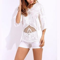 Super Sexy Hollow Out Half Sleeve White Lace Floral V-Neck Shirt