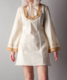 vintage 60s embroidered cotton bell slv mini hippie dress