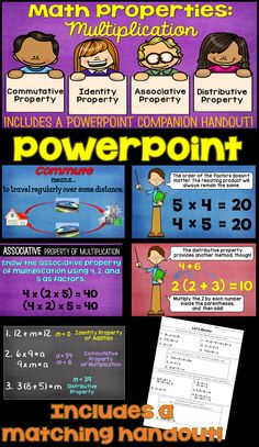 Multiplication Properties... Commutative, Associative, Identity and Distributive.  This PowerPoint includes a review of the addition properties, too.   Lots of practice opportunities! It includes a handout where students can record their answers, too! Identity Property Of Multiplication, Multiplication Properties, Math Properties, Multiplication Activities, Math Activities, Identity Property Of Addition, Properties Of Addition, Commutative Property, Common Core Curriculum