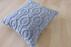 Hand Knit Pillow Case Silver Gray Throw Pillow by Adorablewares