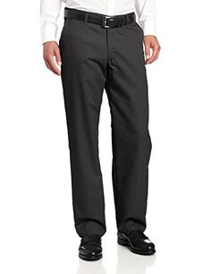 Lee Men's Total Freedom Relaxed Fit Flat Front Pant - 33W x 34L - Black