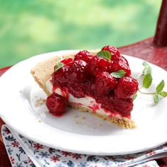 Raspberry pie with a cream cheese layer - could also work with strawberries.